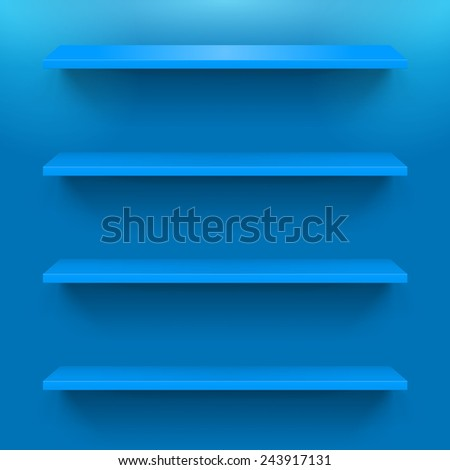 Four gorizontal blue bookshelves on the  wall