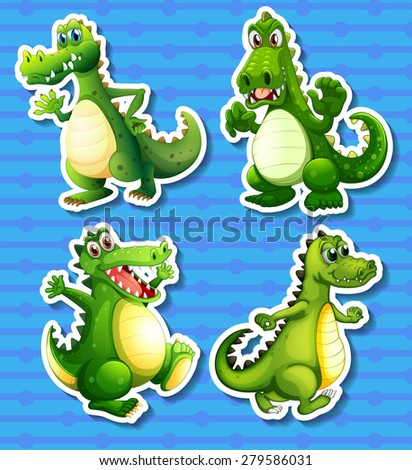 Four green dragon in different positions - stock vector