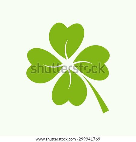 Four green leaf clover - vector - stock vector
