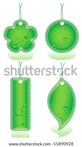 Four green price tag, vector illustration. - stock vector
