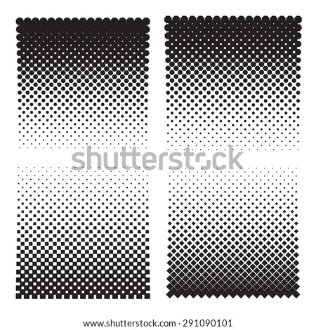 Four halftone effect backgrounds of: dots, octagons, squares, diamonds. Vector illustration - stock vector