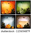 Four Halloween backgrounds. Vector - stock photo