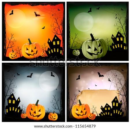 Four Halloween backgrounds. Vector - stock vector