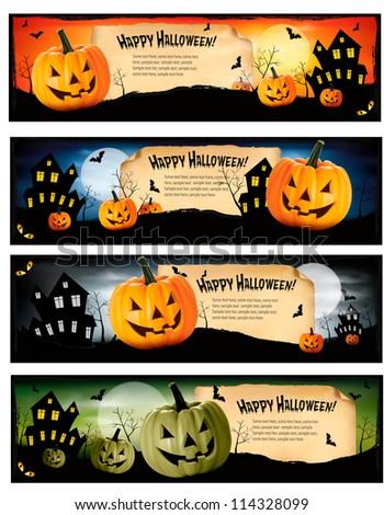Four Halloween banners Vector - stock vector