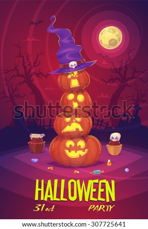 Four Halloween pumpkins with hat on Moon background. Halloween cardposter. Vector illustration. - stock vector