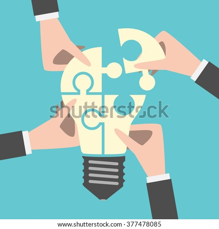 Four hands putting together light bulb shaped puzzle. Teamwork, team, idea, business, solution, creativity concept. Flat style. EPS 8 vector illustration, no transparency - stock vector