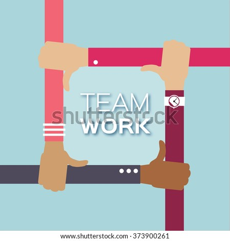 Four Hands Together Team Work Of Different Colors Cultural And Ethnic Diversity