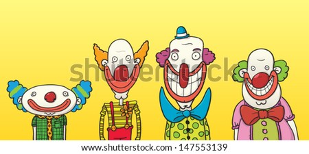 Four happy clowns of different sizes and shapes - stock vector