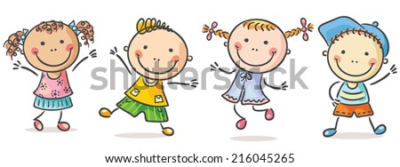 Four happy kids dancing or jumping - stock vector