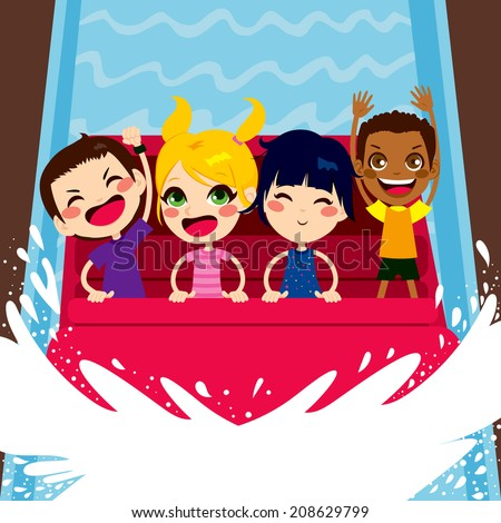 Four happy kids enjoying a water boat ride on amusement park - stock vector