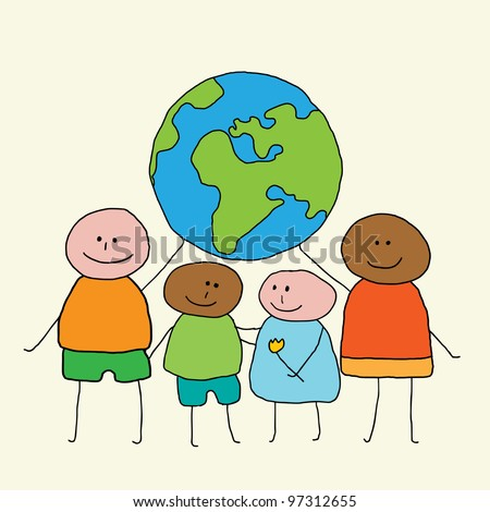 Four happy, smiling people with different skin colors carry the world in their hands - stock vector