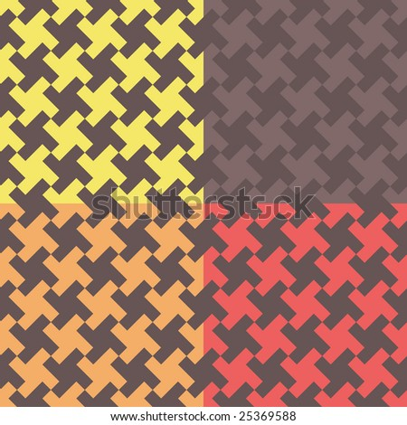 Four houndstooth-like geometric pattern swatches - stock vector