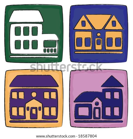 Four house icons in paint/charcoal style - stock vector