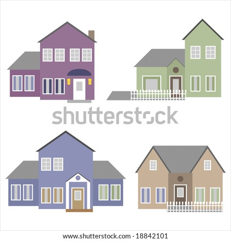 Four houses isolated on white - stock vector