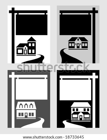 Four houses with signs. - stock vector