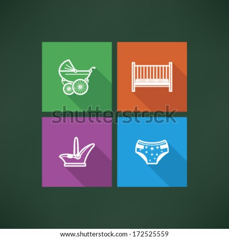 Four icons in relation to a Baby born time - Baby care objects, pictured here from left to right, top to bottom: Baby buggy, Baby bed, Baby car seat, Nappy.  - stock vector