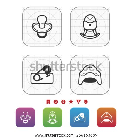 Four icons in relation to a Baby born time / Baby care objects, pictured here from left to right, top to bottom: Baby teat, Baby crib, Diaper pin, Potty.  - stock vector