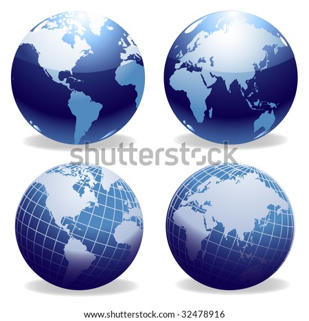 Four illustrations of shiny world globes - stock vector