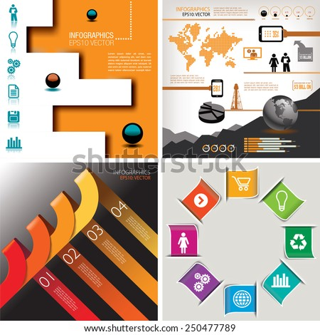 Four-in-One infographics--four Designs For The Price of One - stock vector