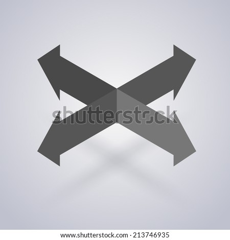 Four intersecting directional arrows - stock vector
