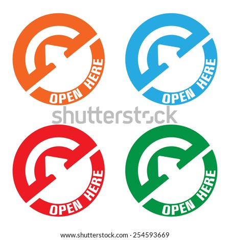 Four isolated stickers with the text open here written on each sticker