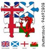 Four jigsaw pieces filled with the UK, Scottish, English and Welsh flags - stock photo