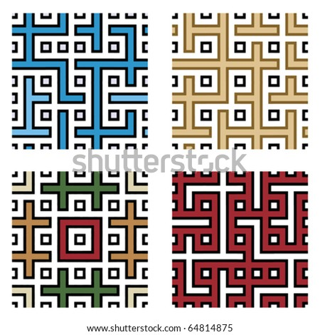 four jointless abstract patterns, design elements, vector illustration - stock vector