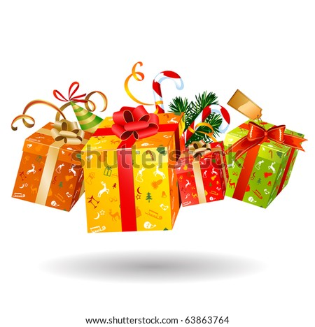 Four jumping bright Christmas gifts - stock vector