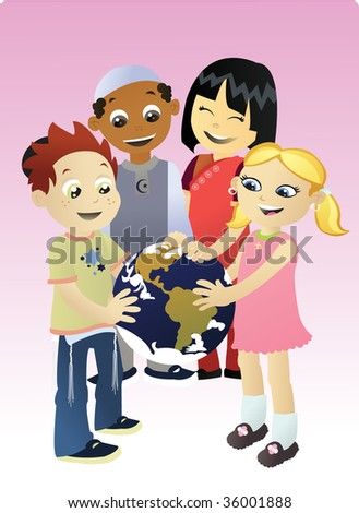 Four Kids Different Religions Healing Our Stock Vector - World religions for kids