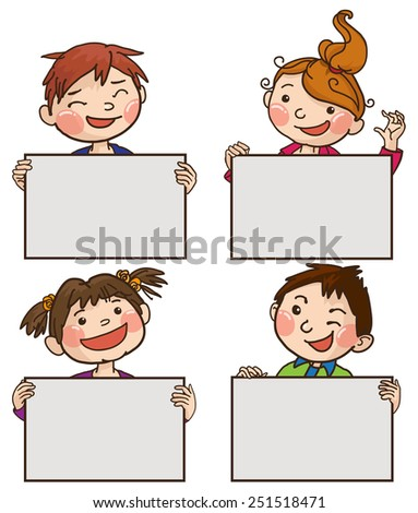 Four kids peeping behind four placard. Colour. Back to School isolated objects on white background. Great illustration for a school books and more. VECTOR. Editorial. Education. Advertising. Board. - stock vector