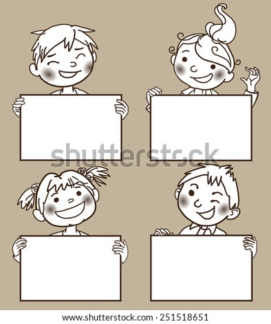 Four kids peeping behind four placard. Monochrome.Back to School isolated objects. Great illustration for a school books and more. VECTOR. Editorial. Education. Advertising. Board. - stock vector