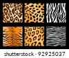Four kinds of skin of animals - stock vector