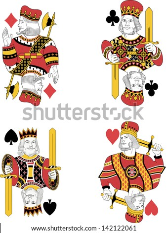 Four kings without cards. Original design - stock vector