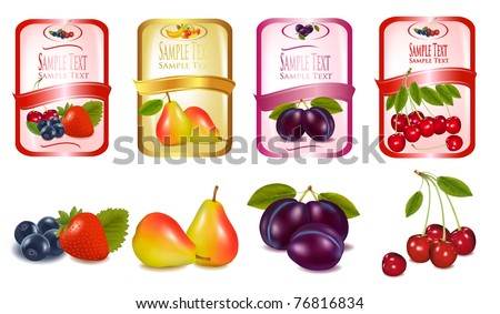 Four labels with berries and fruits. Vector. - stock vector