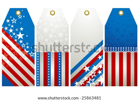 four  labels with elements of usa banner, vector illustration - stock vector