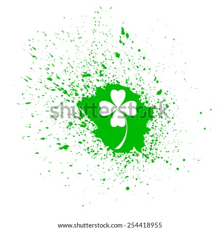 Four- leaf clover - Irish shamrock St Patrick's Day background. Useful for your design. Green glass clover  on green background.Stylish abstract St. Patrick's day background with leaf clover. - stock vector