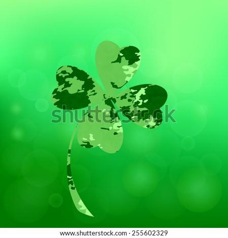 Four- leaf clover - Irish shamrock St Patrick's Day symbol. Useful for your design. Green  clover labels. St. Patrick's day clover icon  on green background. - stock vector