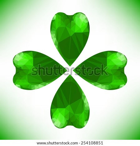 Four- leaf clover - Irish shamrock St Patrick's Day symbol. Useful for your design. Green glass clover isolated on white background.Stylish abstract St. Patrick's day background with leaf clover.  - stock vector