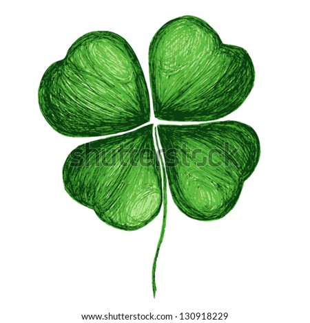 Four leaf clover isolated on white. Hand drawn vector illustration. Fully editable. - stock vector
