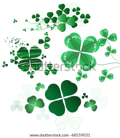Four-leaf clover painted in different styles, oil paint, thin contour and realistic style - stock vector
