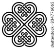 Four-leaf clover shaped knot made of Celtic heart shape knots. Knot icon. Knot shape. Vector illustration. - stock vector