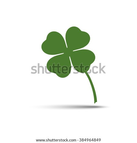 Four leaf clover vector icon. Green four leaf clover illustration with shadow. Four leaf clover isolated illustration for Saint Patrick's Day. - stock vector