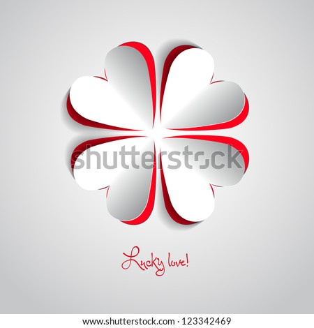 Four leafs made from hearts - love theme - stock vector