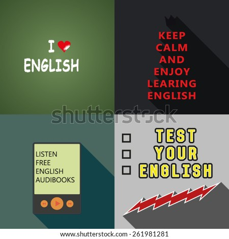 Four Learning Language Posters - stock vector