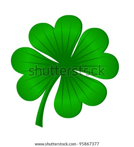 four leaves luck clover green isolated on white vector - stock vector