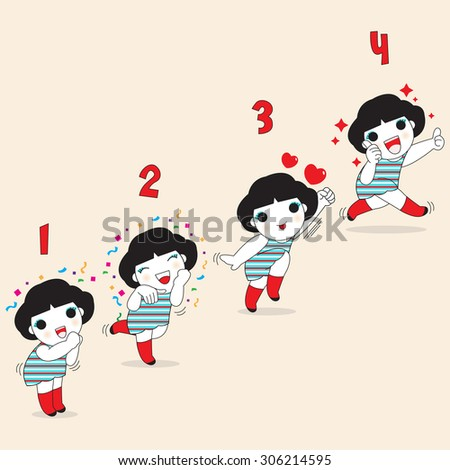 Four Levels Of Happiness Character illustration - stock vector