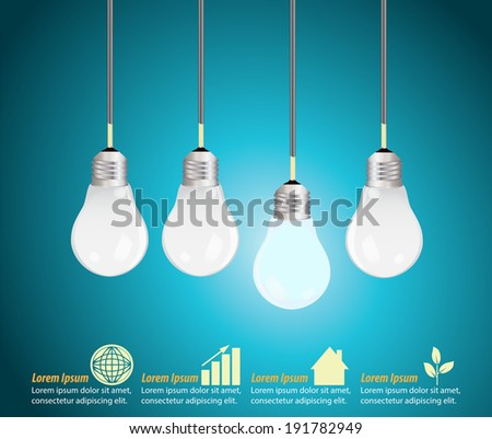 Four light bulbs hanging against blue background, creative template