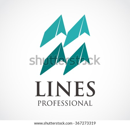 Four lines of ribbon professional abstract vector and logo design or template grow business icon of corporate identity symbol concept - stock vector
