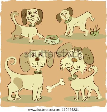 four little funny dog - stock vector
