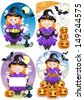 Four Little Witches - stock vector